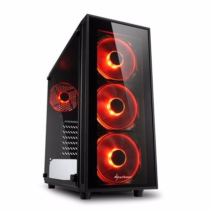 Fotografija izdelka SHARKOON TG4 Red midiATX okno gaming LED(rdeč) črno ohišje