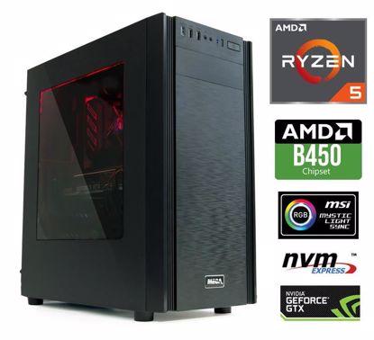 Fotografija izdelka Računalnik  MEGA 6000X Ryzen 5-2600/8GB/SSD250GB-NVMe/2TB/GTX1660-6GB/RGB W10