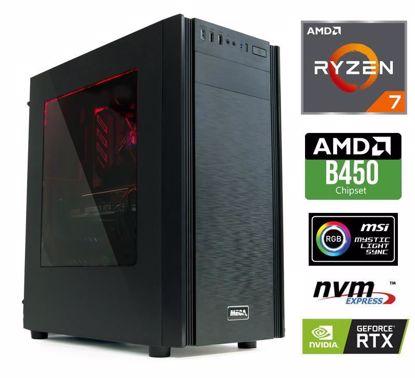 Fotografija izdelka Računalnik  MEGA 6000X Ryzen 7-2700/16GB/SSD250GB-NVMe/2TB/GTX1660Ti-6GB/RGB W10PRO