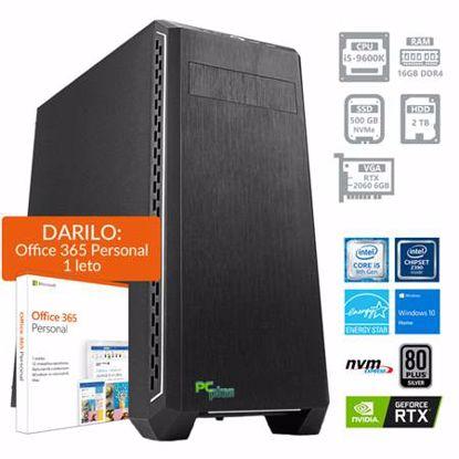 Fotografija izdelka PCPLUS Gamer i5-9600K 16GB 500GB NVMe SSD + 2TB HDD RTX 2060 6GB Windows 10 Home + darilo: 1 leto Office 365 Personal namizni računalnik
