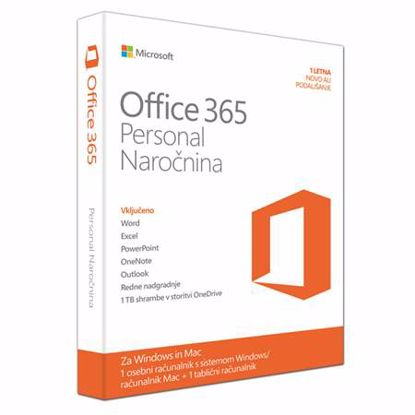 Fotografija izdelka MICROSOFT Office 365 Personal slovenski FPP 32/64 bit enoletna naročnina
