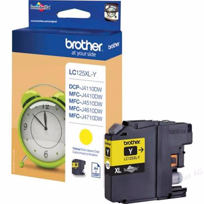 Fotografija izdelka Brother Kartuša LC125XLY, rumena, 1200 strani MFC-J4510DW, MFC-J6520/J6920, DCP-J4110