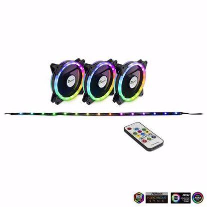 Fotografija izdelka INTER-TECH Argus RS-04 RGB 120mm set 3x ventilator + LED trak + daljinski upravljalnik