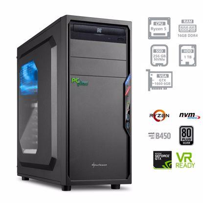 Fotografija izdelka PC PCPLUS Gamer Ryzen 5 3600 16GB 250GB NVMe SSD + 1TB GTX1660 6GB