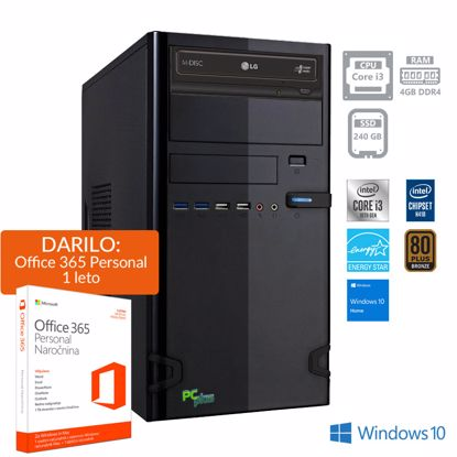 Fotografija izdelka PCPLUS e-office i3-10100 4GB 240GB SSD Windows 10 Home + darilo: 1 leto Office 365 Personal