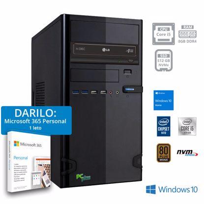 Fotografija izdelka PCPLUS e-office i5-10400 8GB 512GB NVMe SSD Windows 10 Home + darilo: 1 leto Microsoft 365 Personal namizni računalnik
