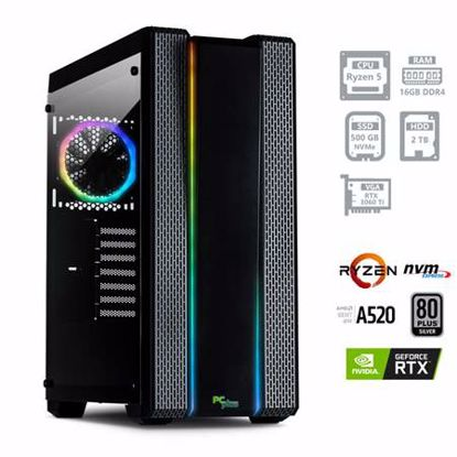 Fotografija izdelka PCPLUS GAMER Ryzen 5 5600X 16GB 500GB NVMe SSD 2TB RTX 3060TI 8GB RGB gaming DOS