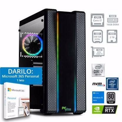 Fotografija izdelka PCPCPLUS Dream machine i7-10700F 16GB 500GB NVMe SSD 2TB HDD GeForce RTX 3060TI 8GB RGB Windows 10 Home + darilo: 1 leto Microsoft 365 Personal