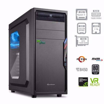 Fotografija izdelka PC PCPLUS Gamer Ryzen 5 3600 16GB 250GB NVMe SSD + 1TB GTX1660 6GB W10PRO
