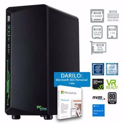 Fotografija izdelka PCPLUS Gamer i5-9400F 8GB 256GB NVMe SSD + 1TB HDD GTX1660 SUPER 6GB Windows 10 Home + darilo: 1 leto Microsoft 365 Personal