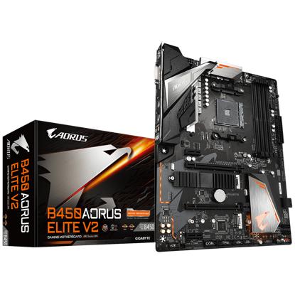 Fotografija izdelka GIGABYTE B450 AORUS ELITE V2, DDR4, SATA3, USB3.1Gen1, HDMI, M.2, AM4 ATX