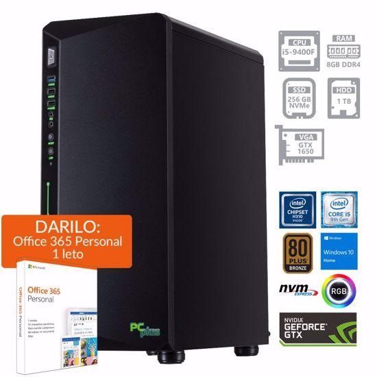 Fotografija izdelka PCPLUS Gamer i5-9400F 16GB 256GB NVMe SSD 1TB HDD GeForce GTX 1650 4GB Windows 10 Home + darilo: 1 leto Office 365 Personal RGB gaming namizni računalnik